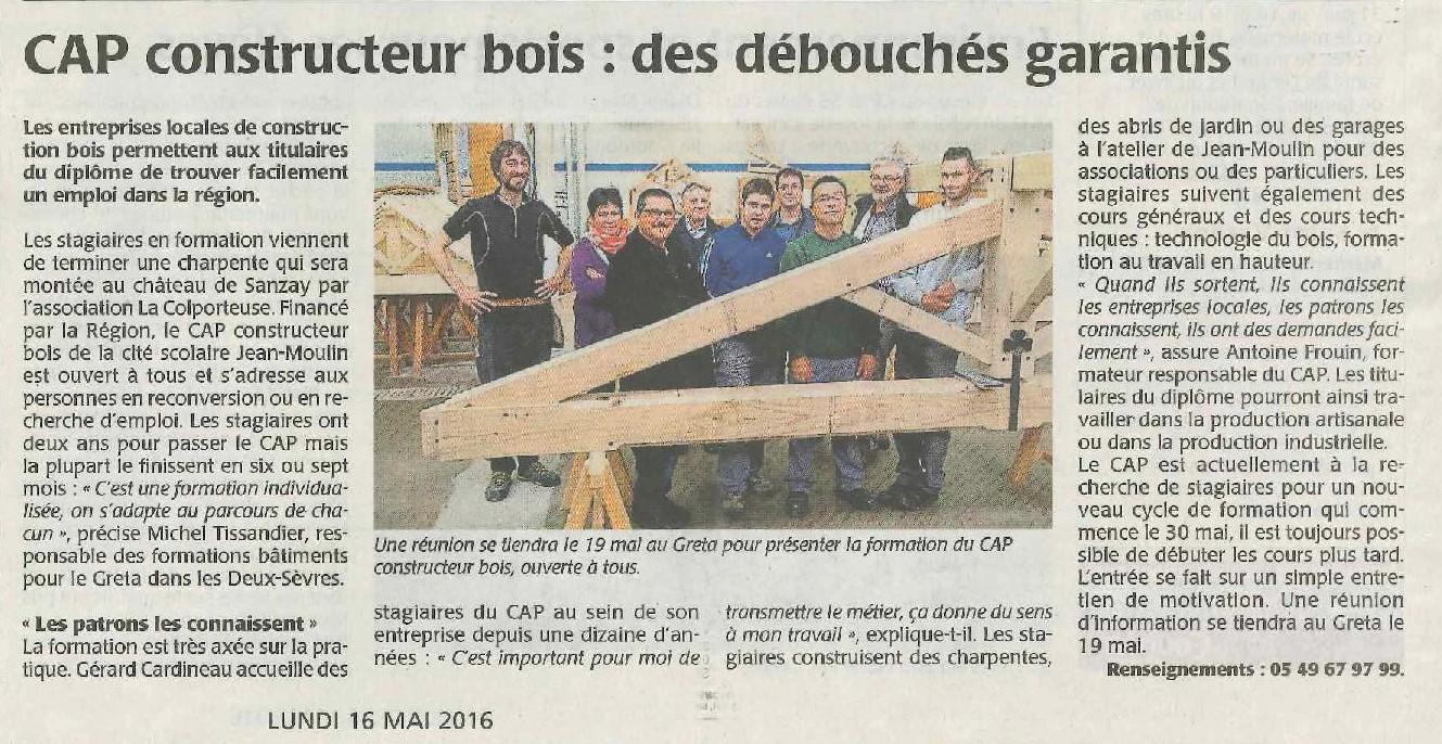 Le Greta dans la presse ! Greta Poitou Charentes # Cap Constructeur Bois