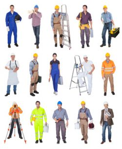 Industrial construction workers. Isolated on white background